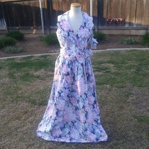 Vtg Print Halter Dress JCP Bridal Collection NOS